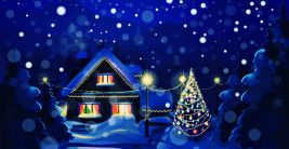 happy merry christmas eve wishes tree stars snow house lights hd wallpaper