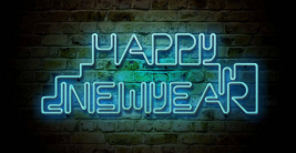 happy new year wishes neon lights hd wallpaper