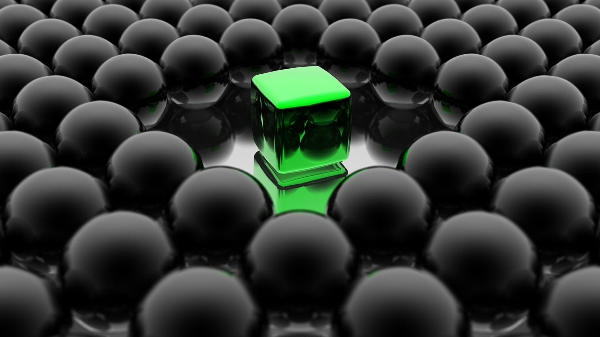3d abstract green cube
