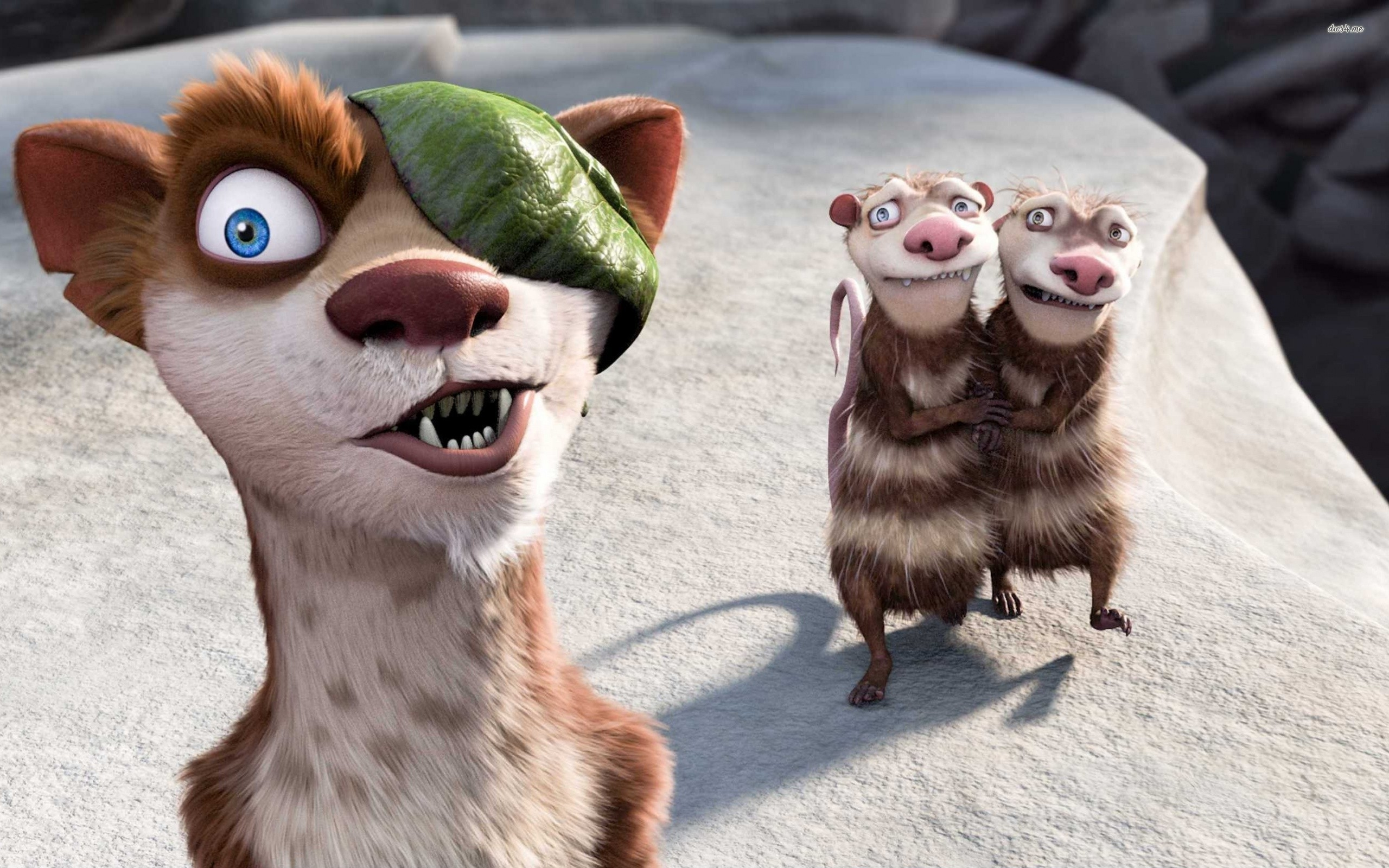 buck crash and eddie ice age 3 free wallpaper