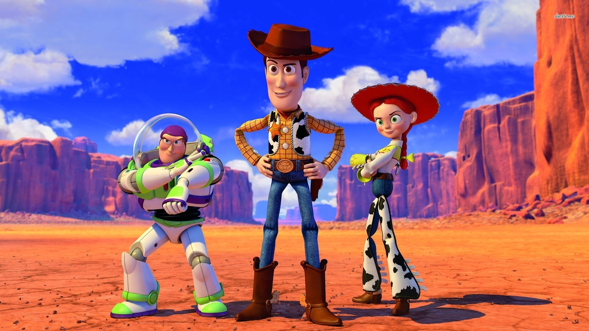 buzz lightyear sheriff woody jessie toy story cartoon wallpaper