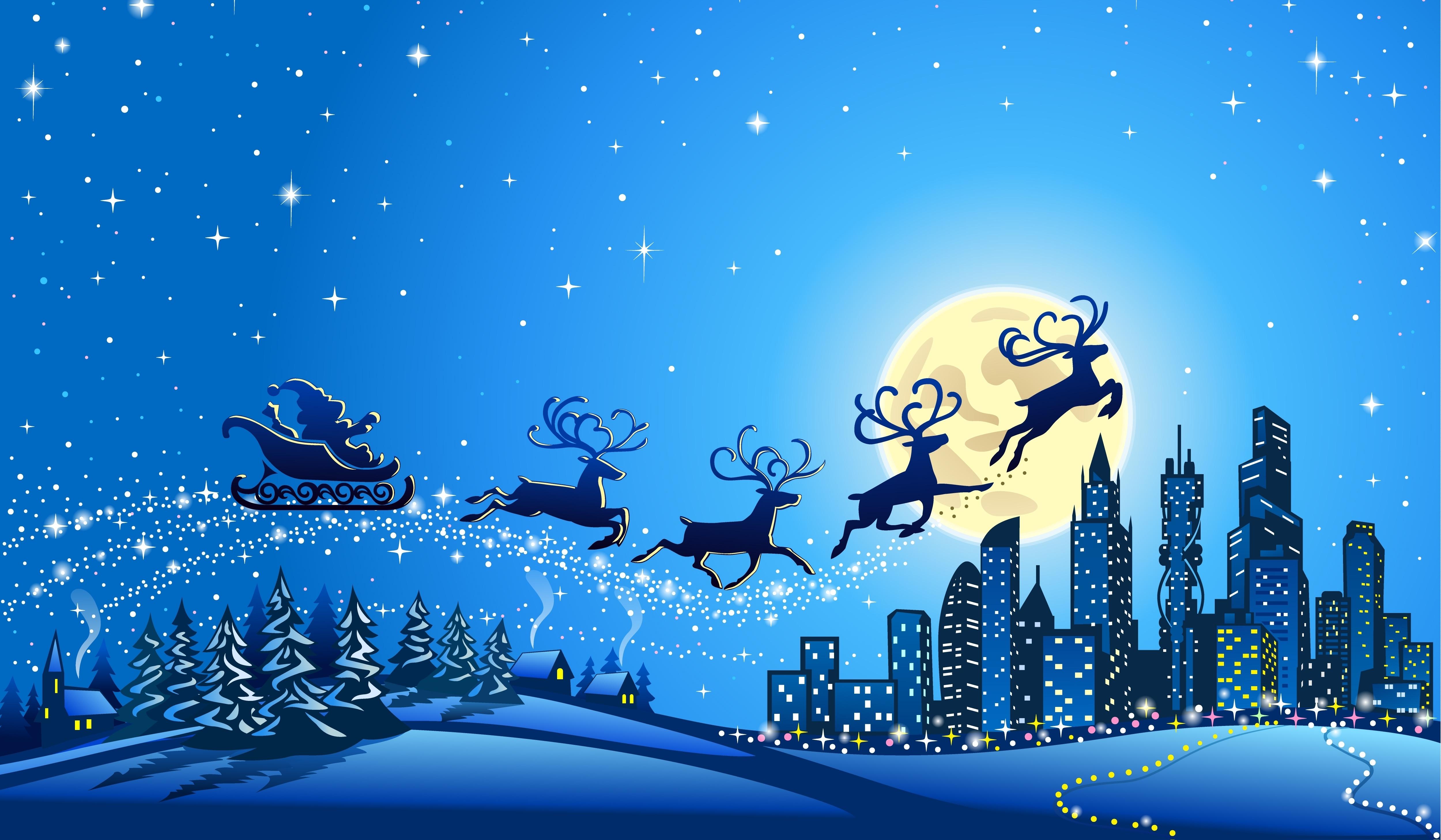 christmas reindeer santa claus deskto