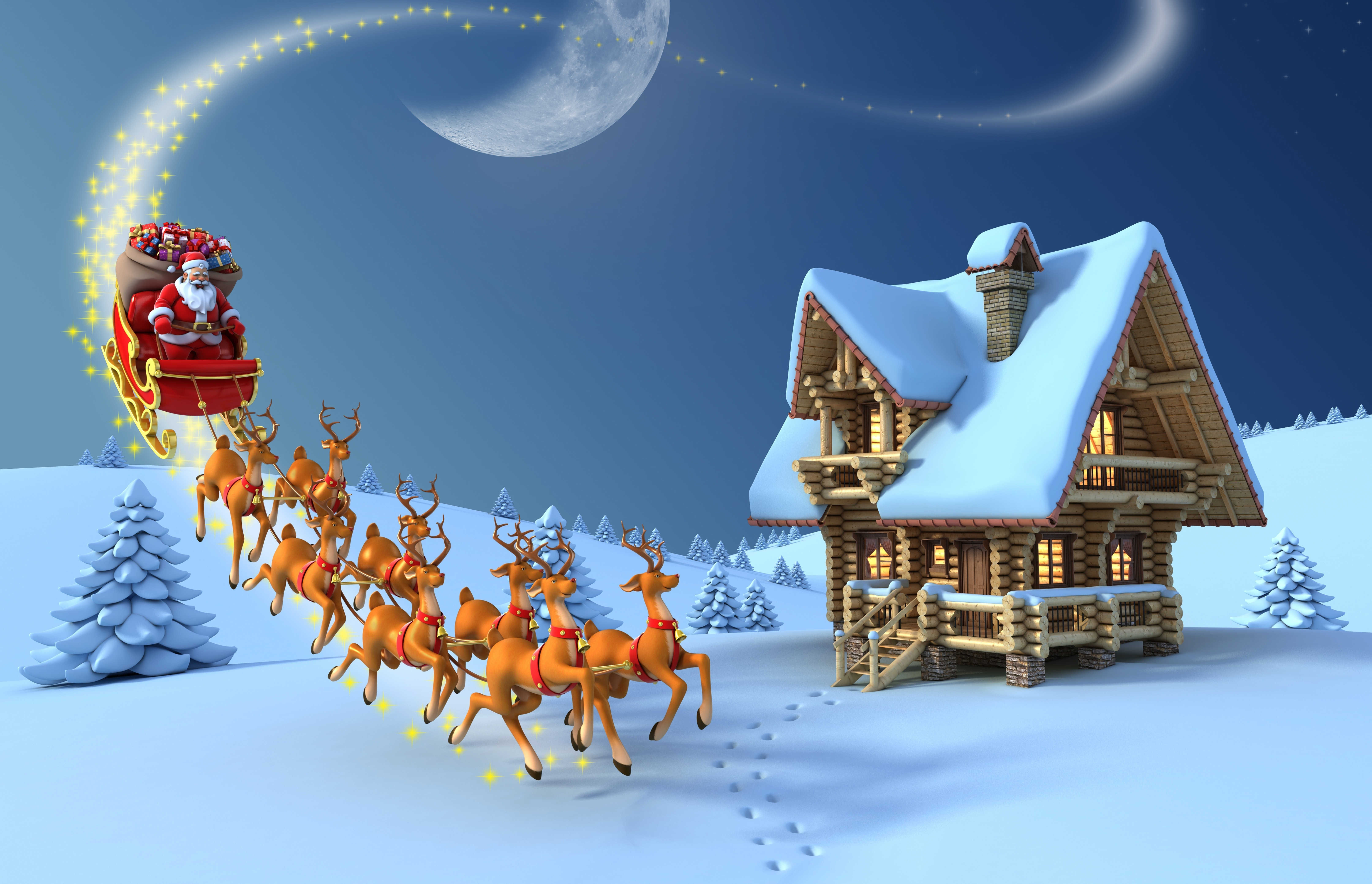 christmas reindeer santa claus wooden house vector snow wallpaper hd
