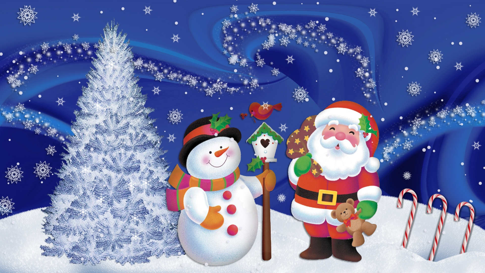 christmas wallpapers santa claus and snowman