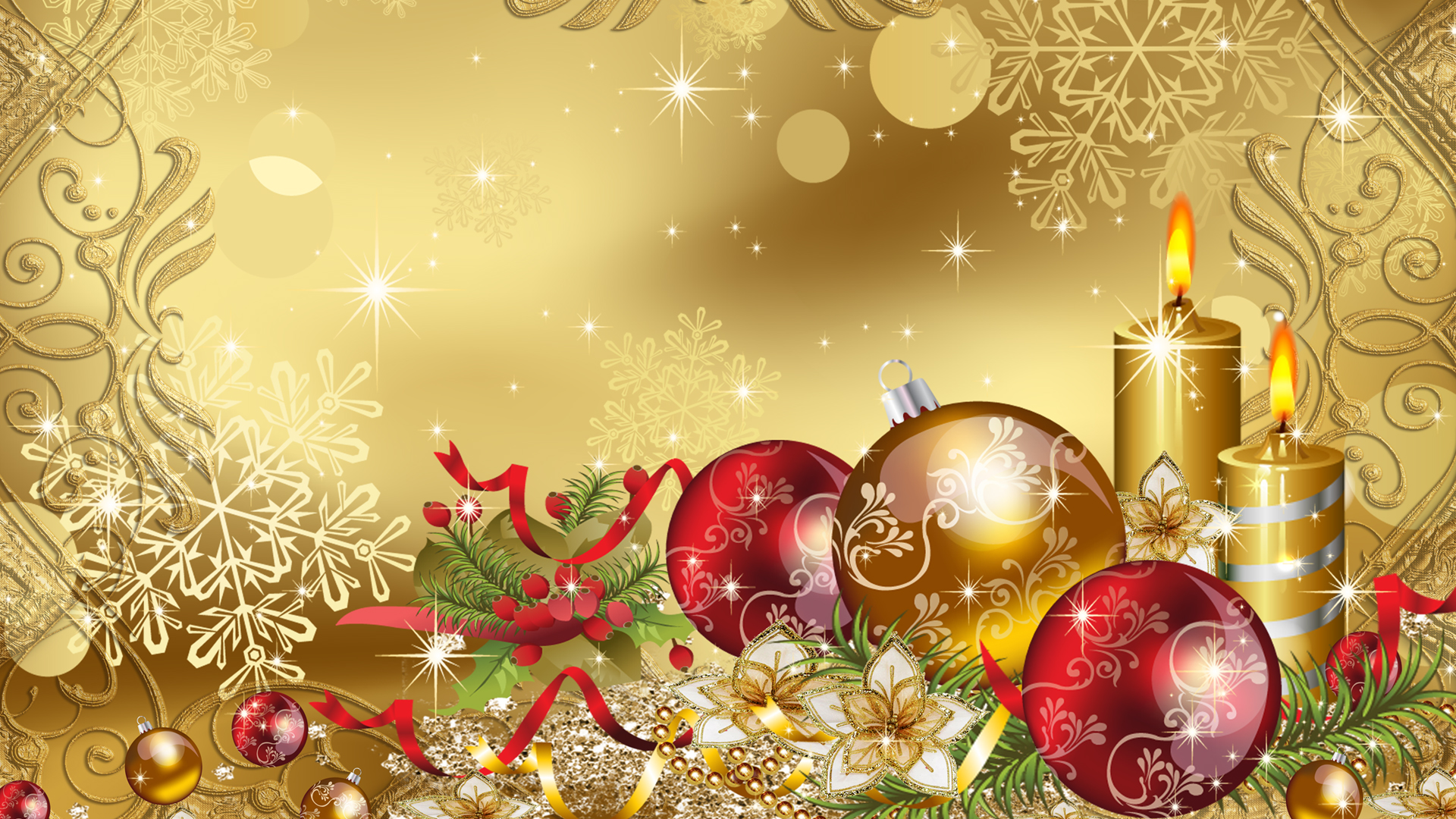 happy christmas golden balls gifts candles hd wallpaper
