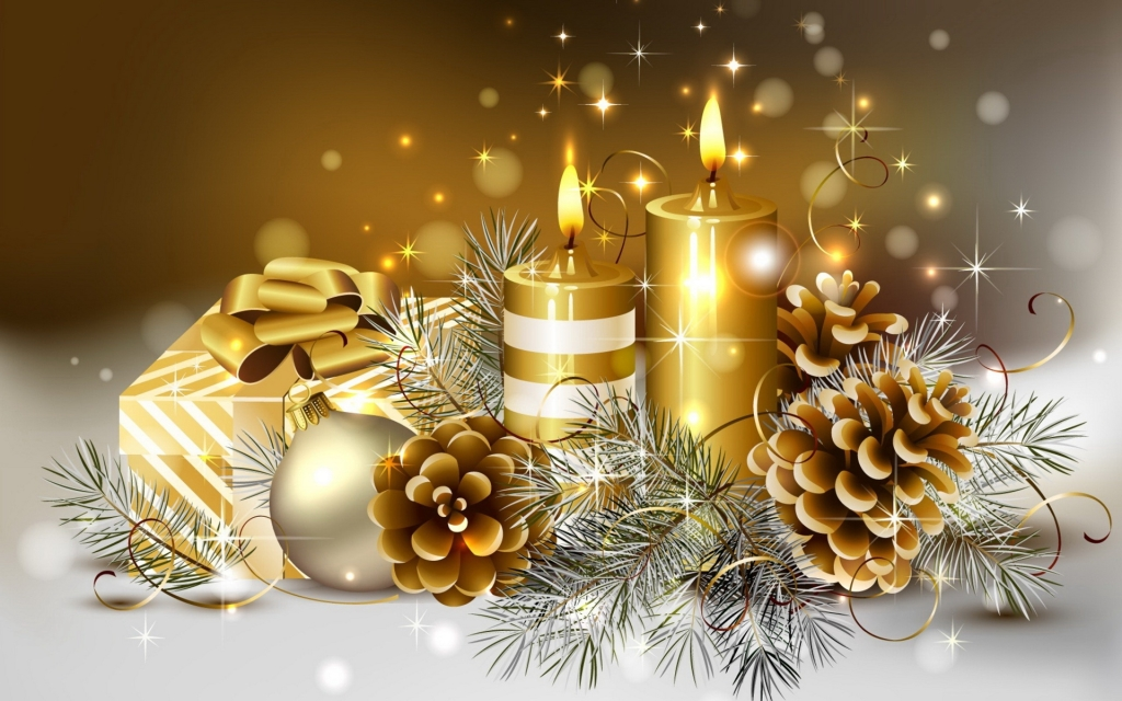 happy christmas greetings golden candles hd wallpaper