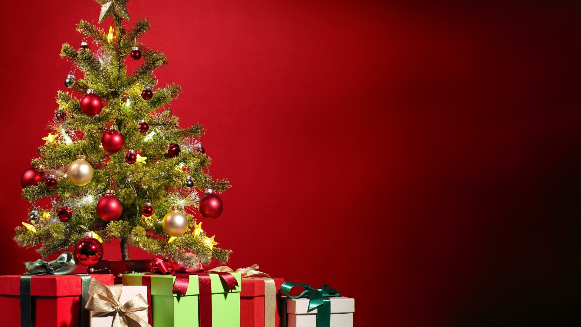 happy christmas greetings tree gifts latest hd wallpaper
