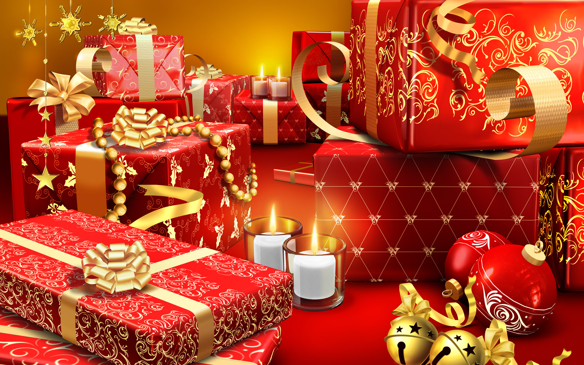 happy christmas many gifts balls lights candles hd wallpaper