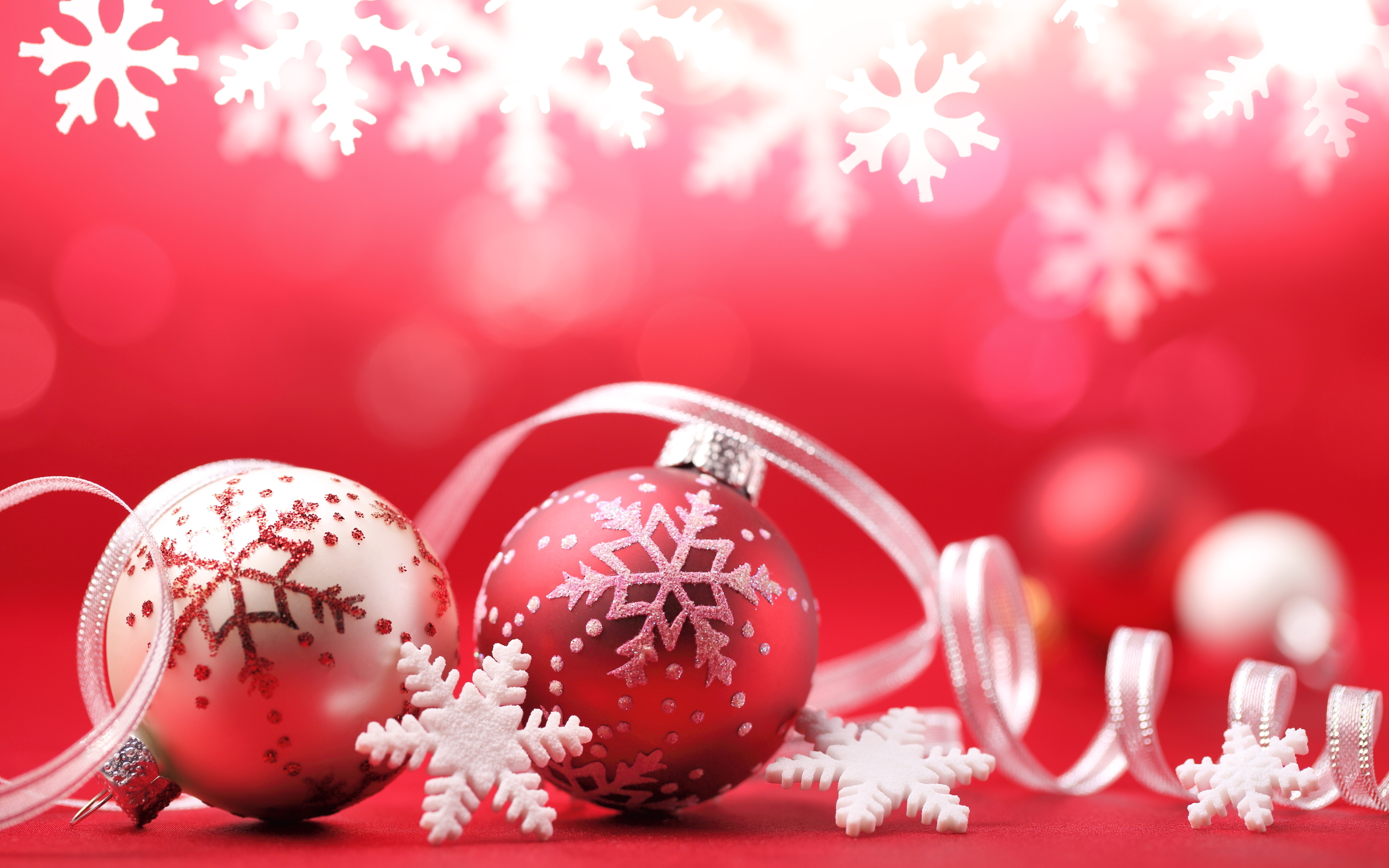 happy christmas ornaments red balls hd wallpaper