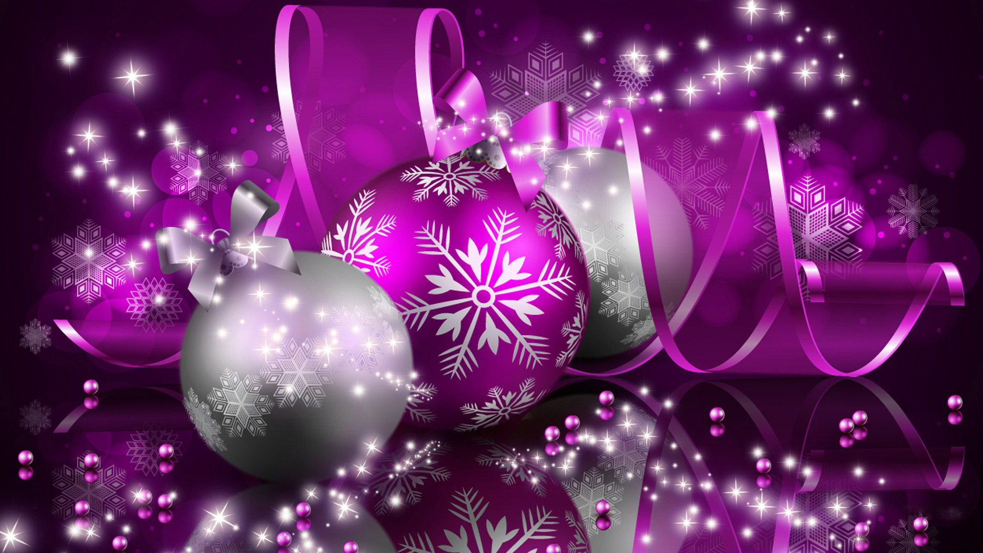 happy christmas purple silver balls new hd wallpaper