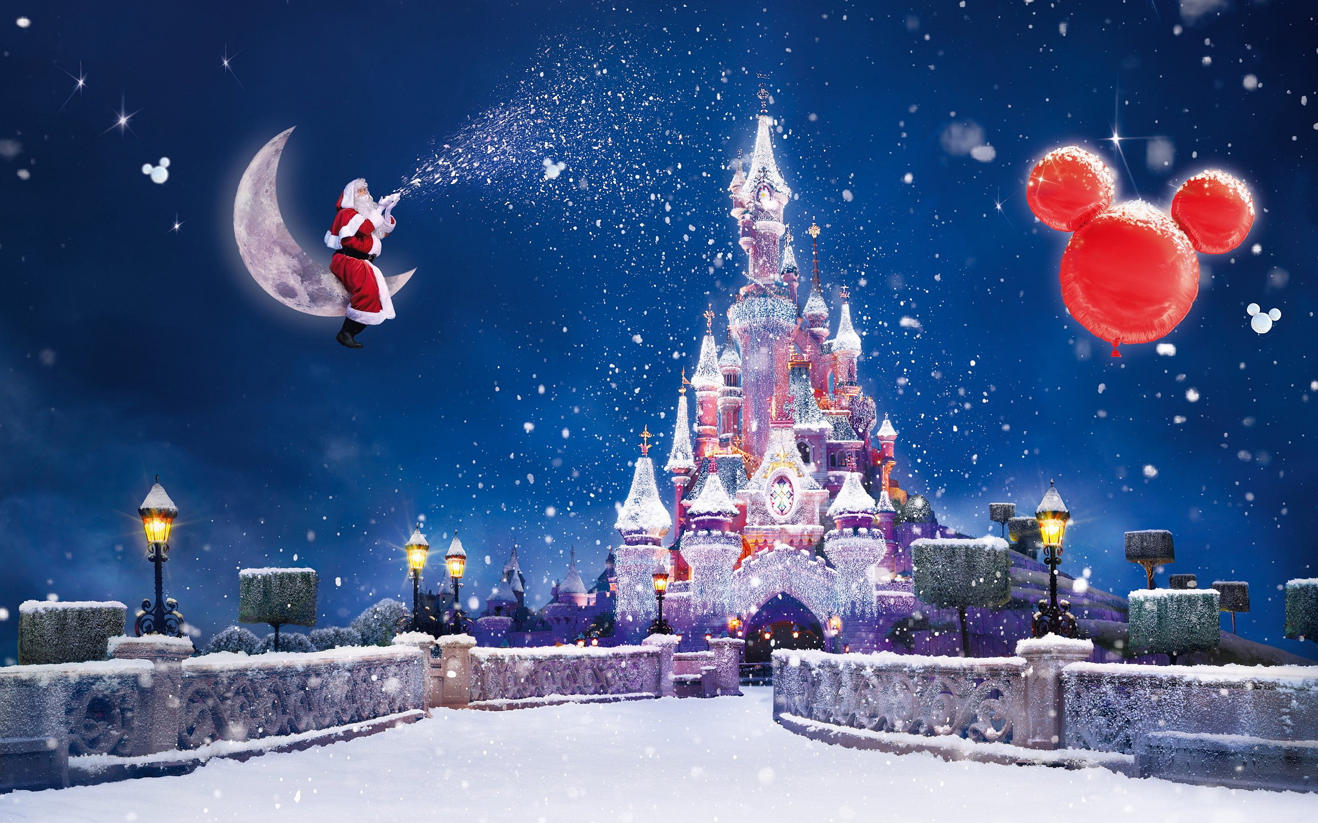 Happy Christmas Santa Showering Snow On Disney Hd Wallpaper