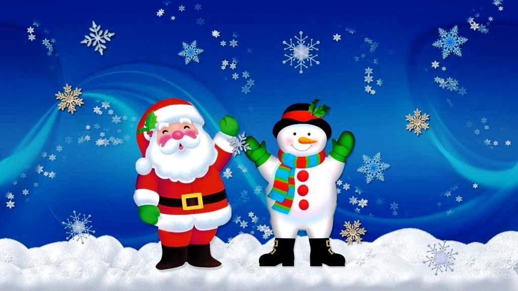 happy christmas santa snowman animated wallpaper