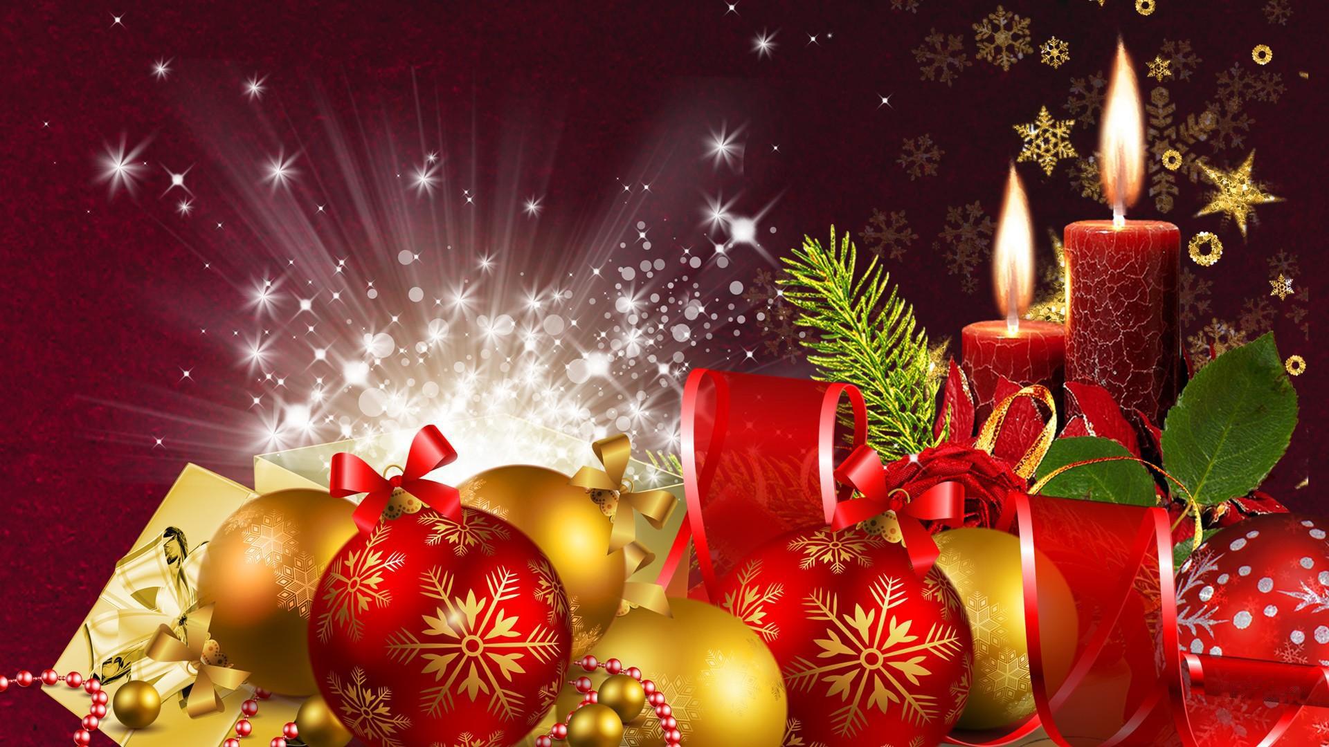 happy christmas tree lights balls gifts best hd wallpaper