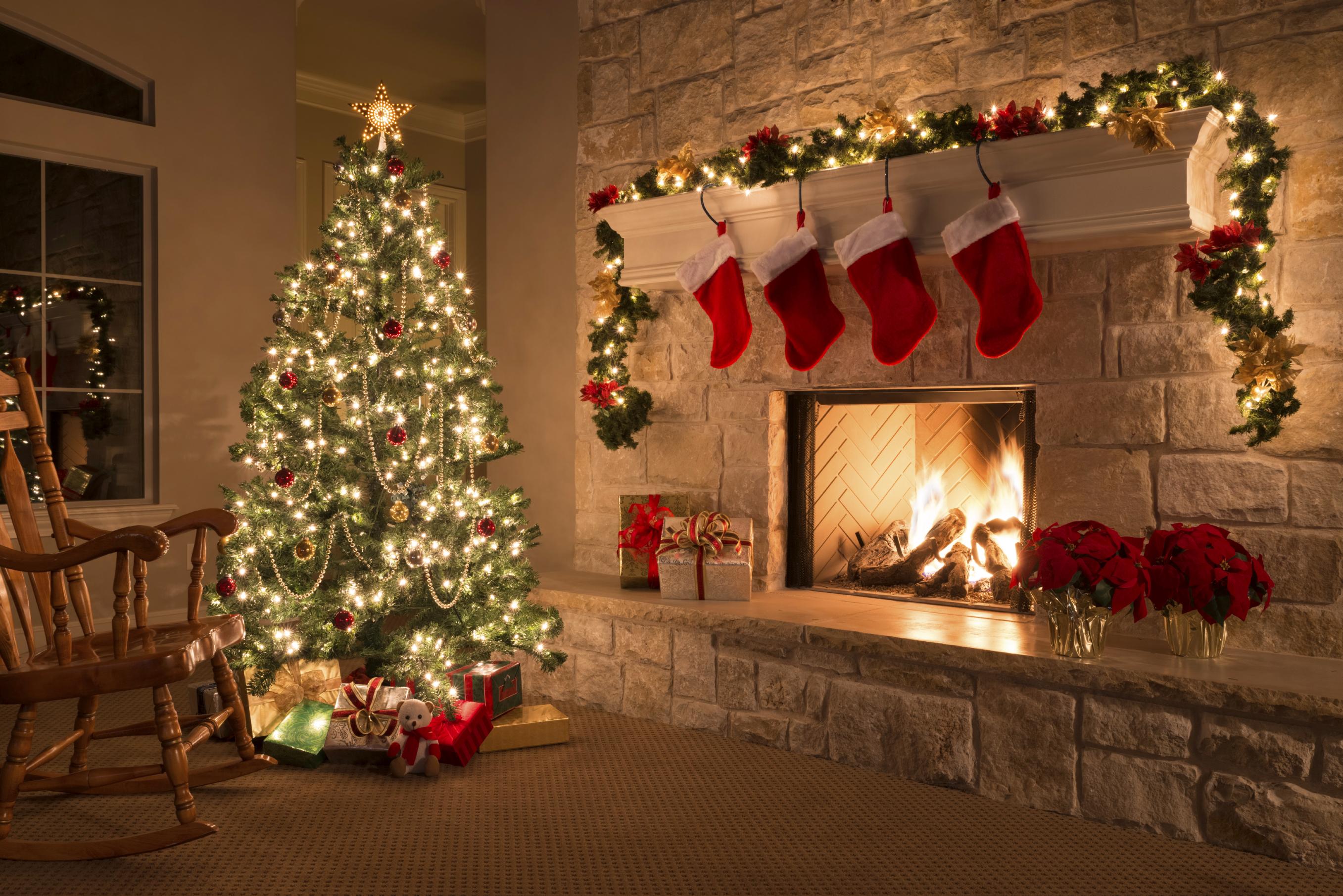 happy christmas tree lights gifts new hd wallpaper