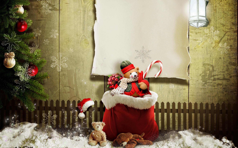 happy christmas tree lights snow teddy latest hd wallpaper