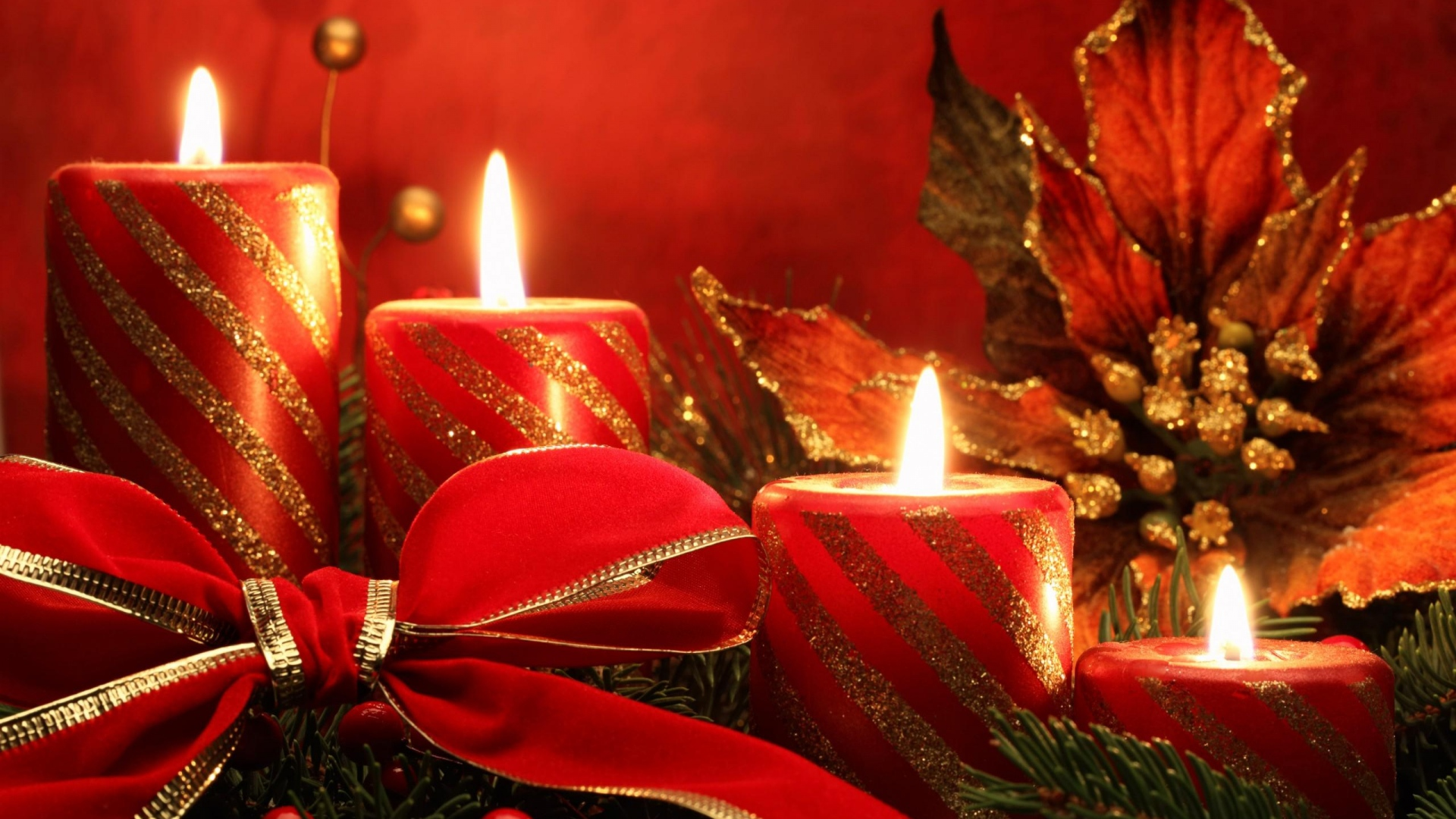 happy christmas wishes candles gifts hd wallpaper