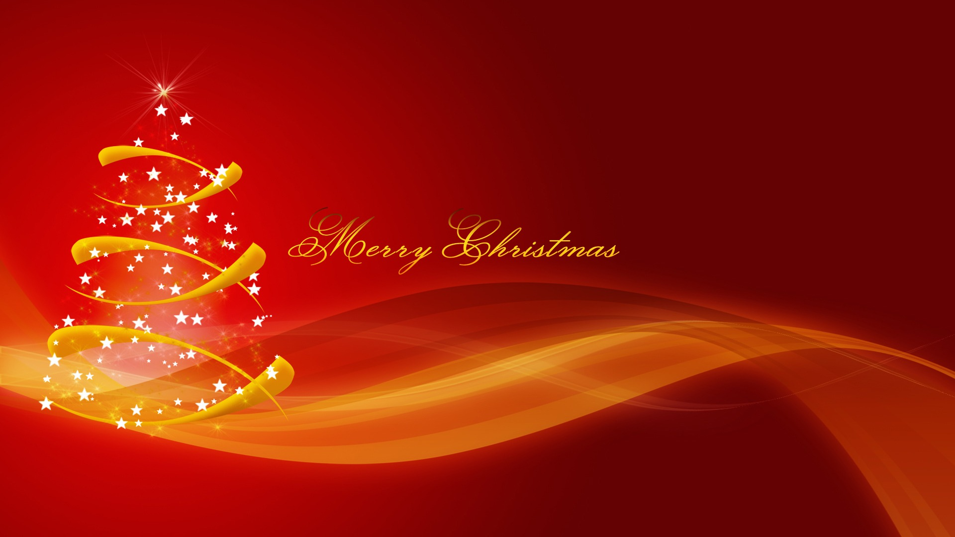 happy meery christmas golden tree sparkling stars hd wallpaper