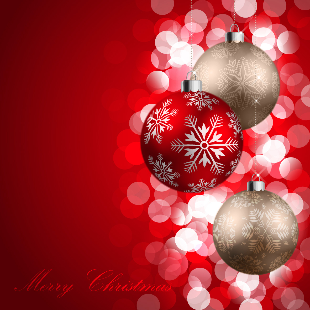 happy merry christmas red silver balls latest hd wallpaper