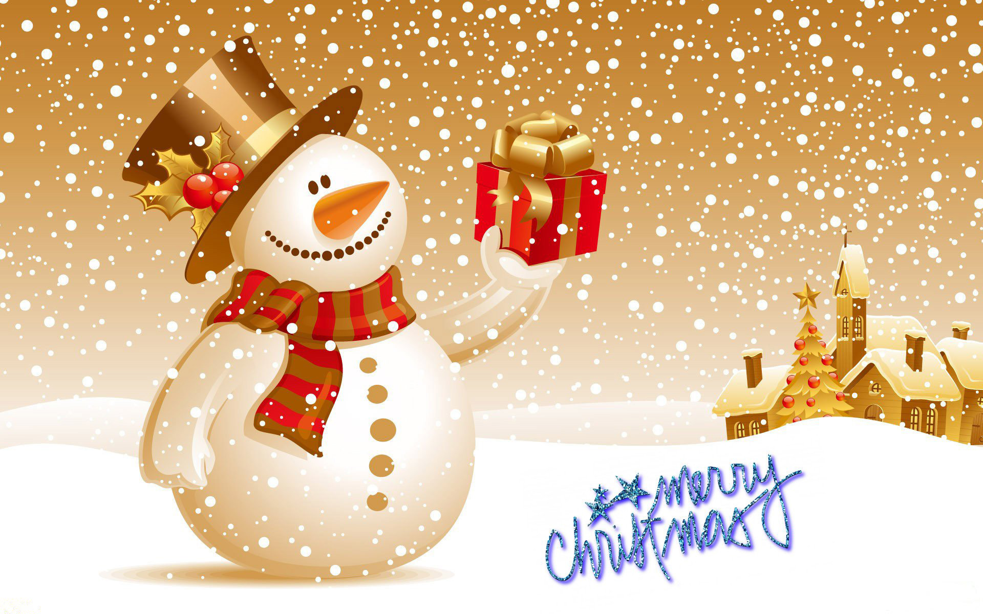 happy merry christmas snow man gift hd wallpaper