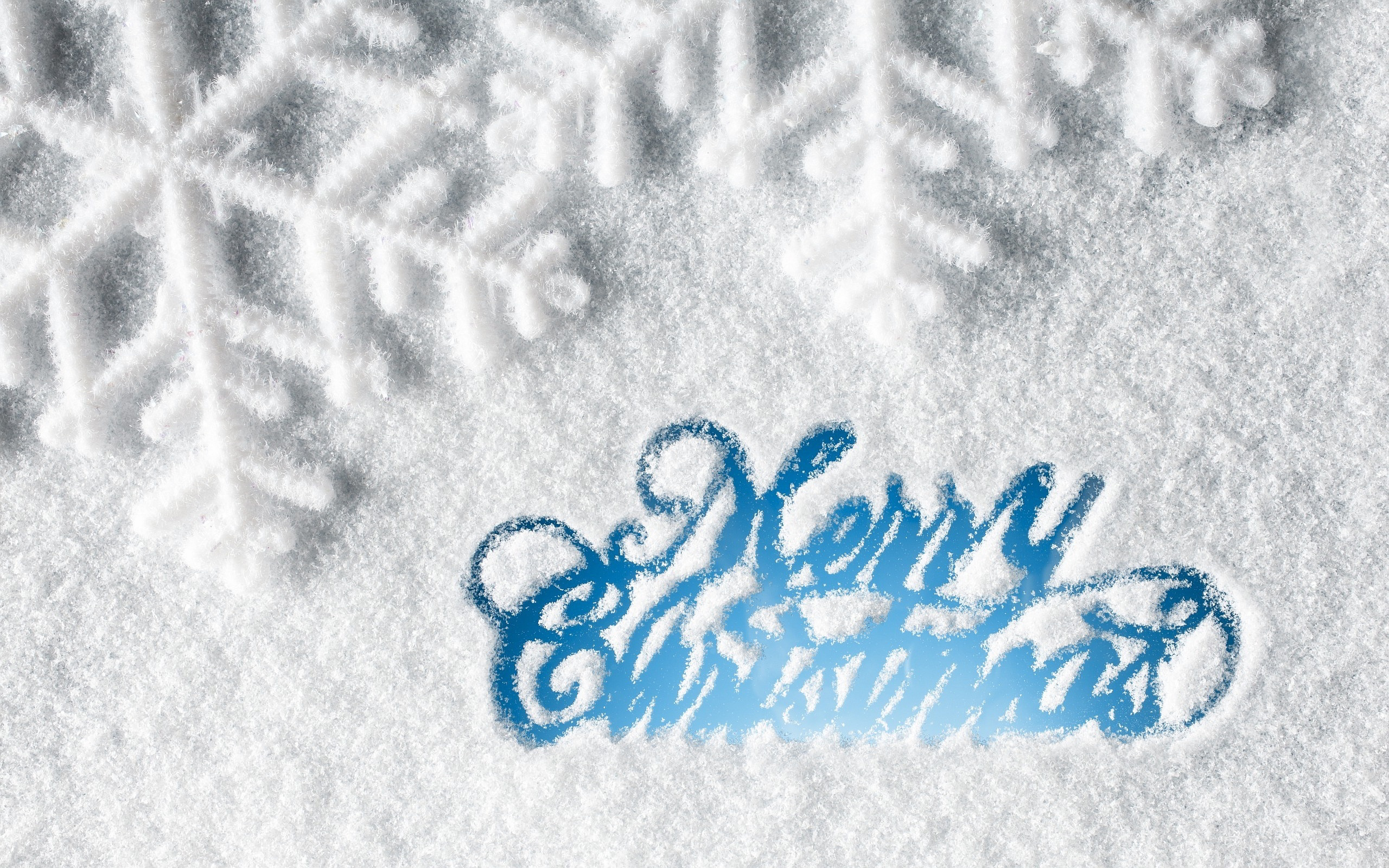 happy merry christmas text on snow hd wallpaper