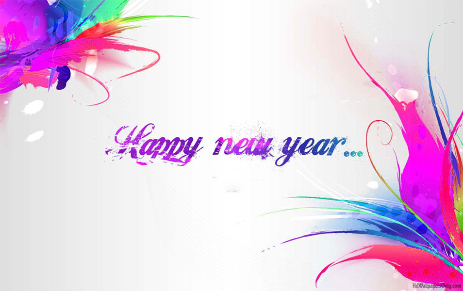 happy new year greetings splash colors graphic wallpaper