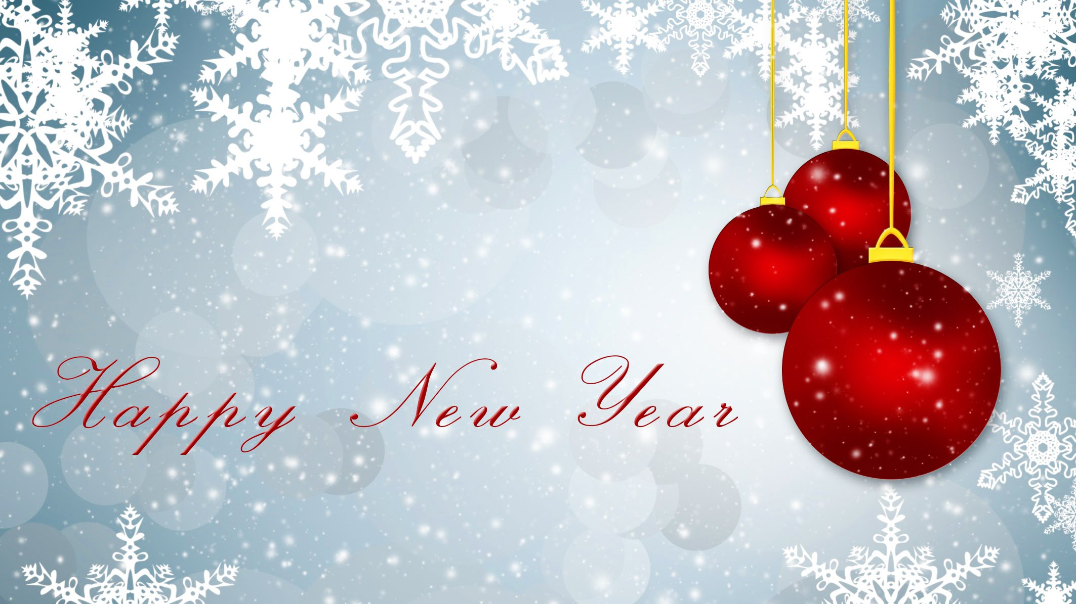 Happy New Year Wishes Red Balls Hd Wallpaper