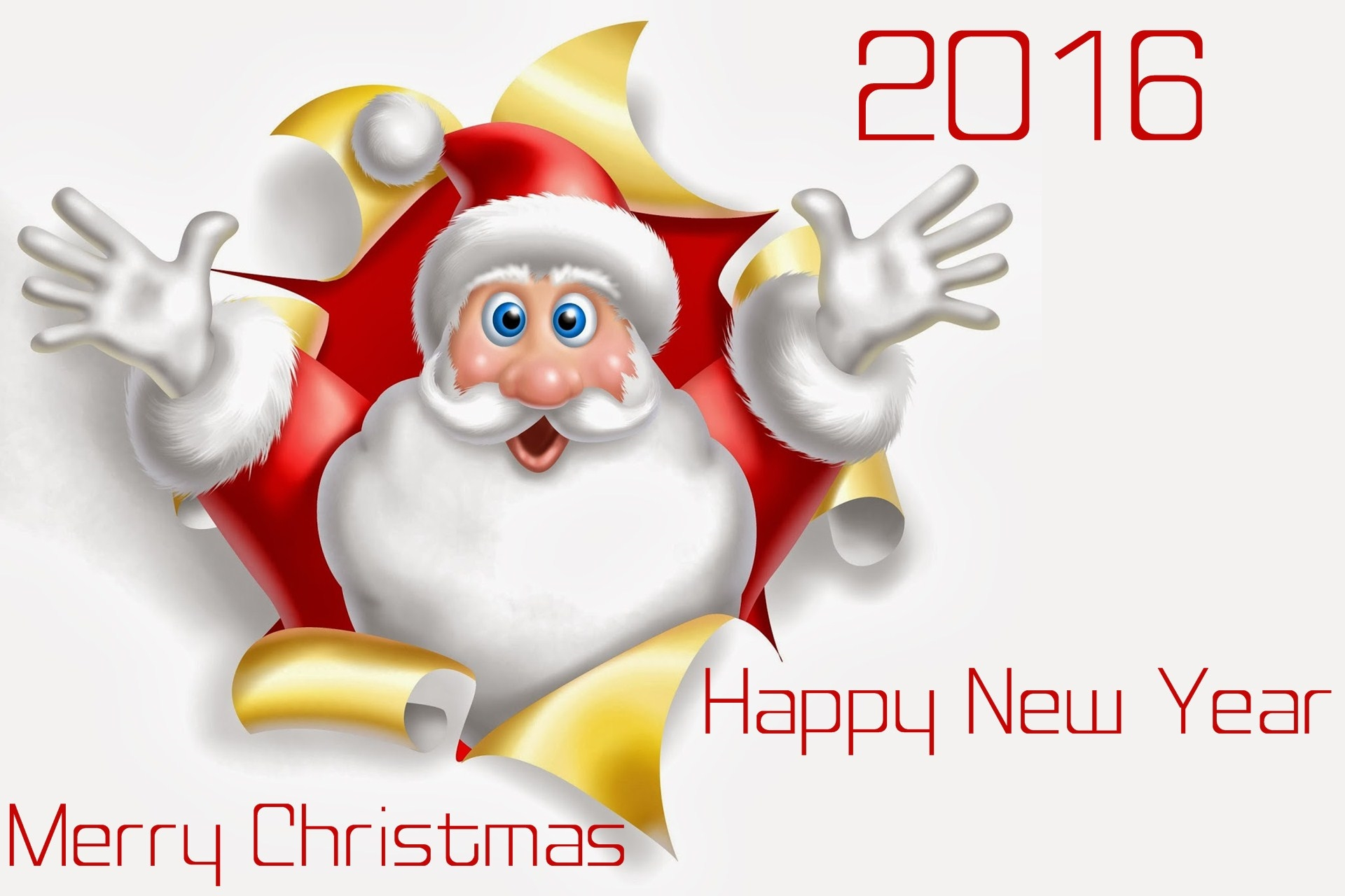 merry christmas and happy new year 2016 santa wishes