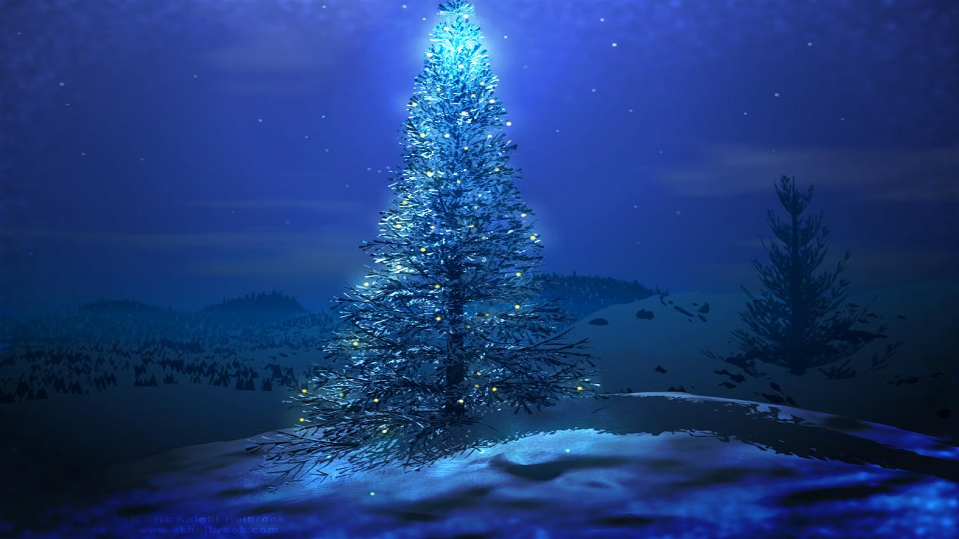 merry christmas blue tree wallpaper