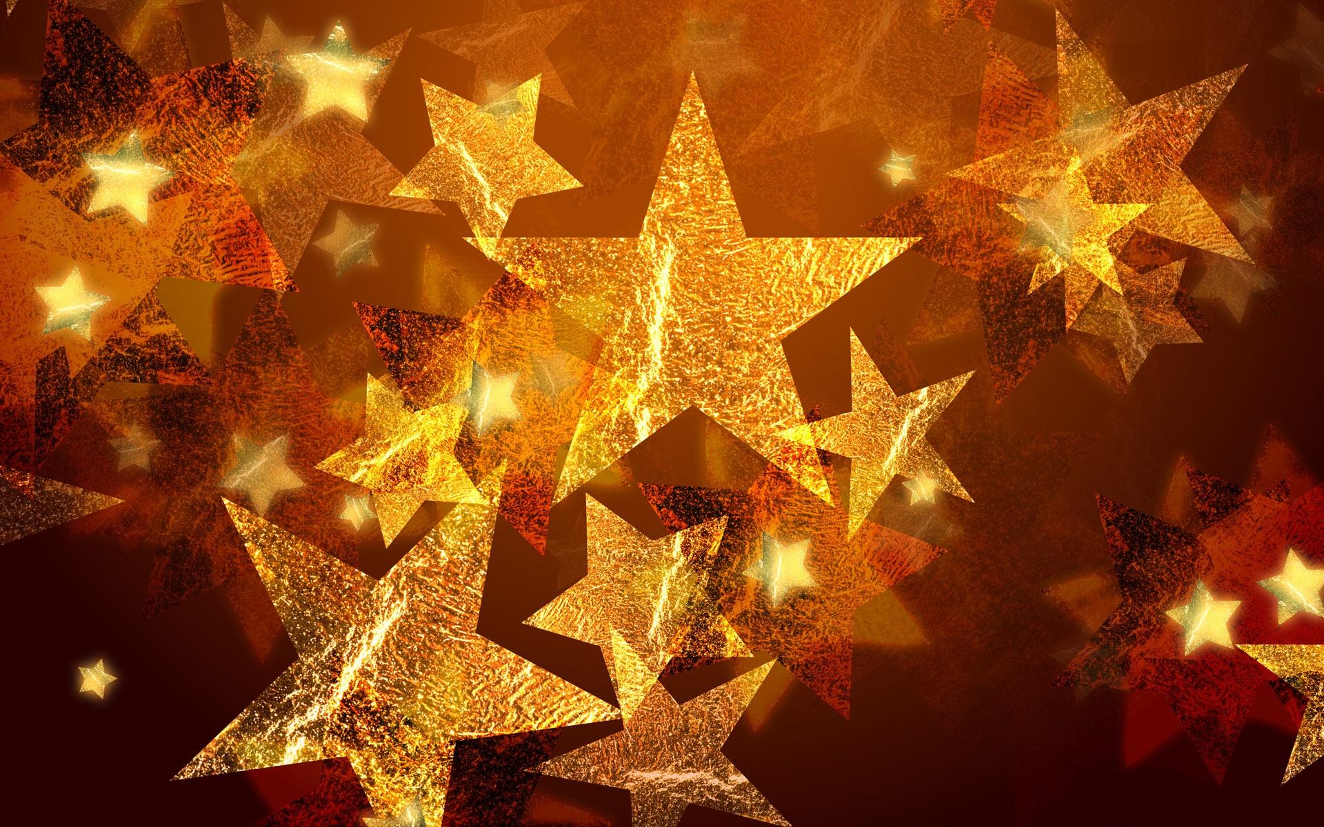 merry christmas golden stars cute hd wallpaper