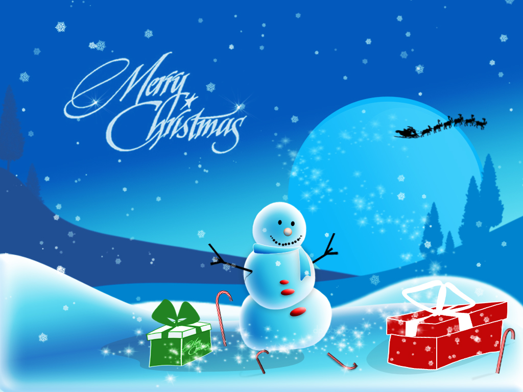 merry christmas greetings snowman reindeer hd wallpaper