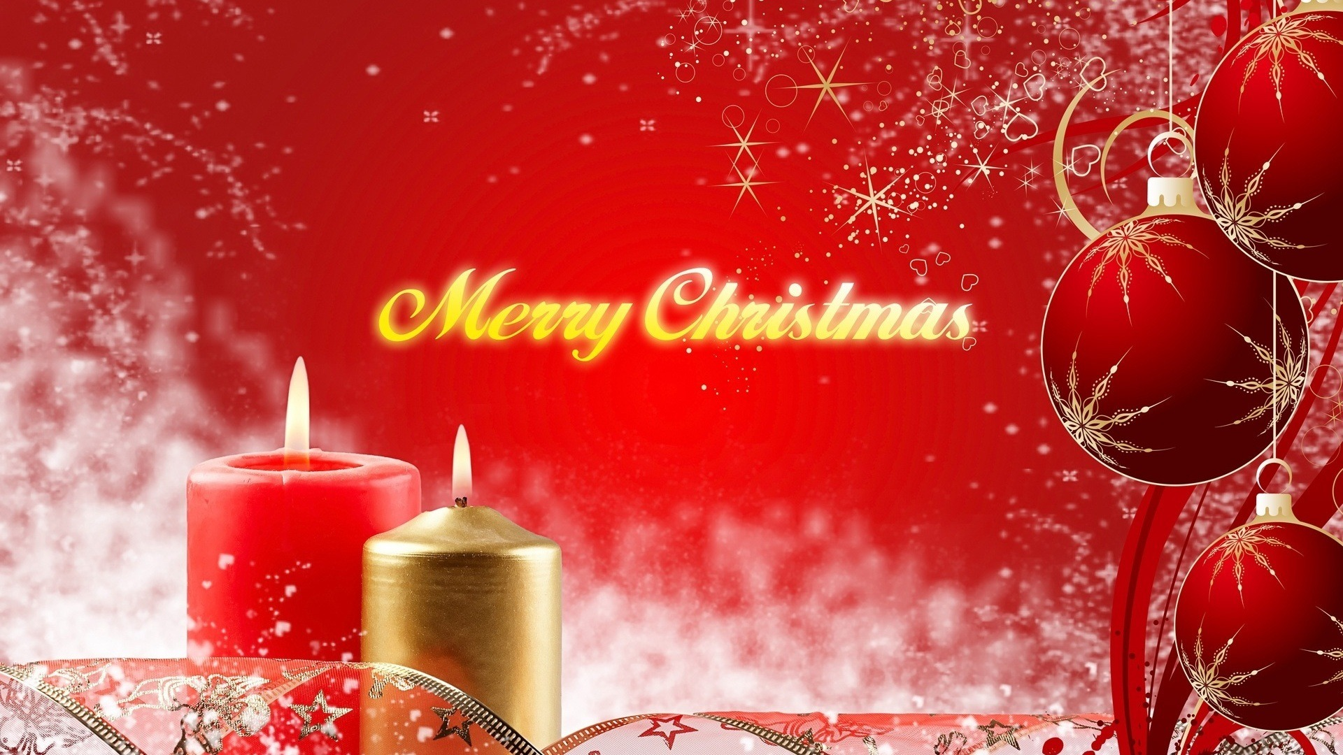 merry christmas red balls candles cute hd wallpaper