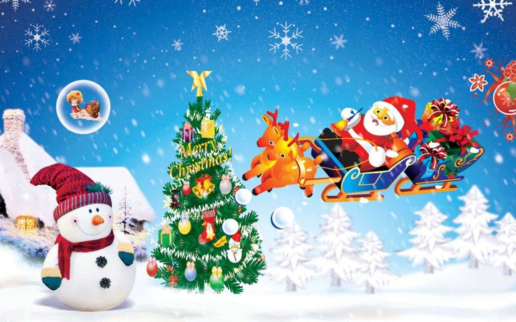 merry christmas snowman santa in reindeer hd wallpaper