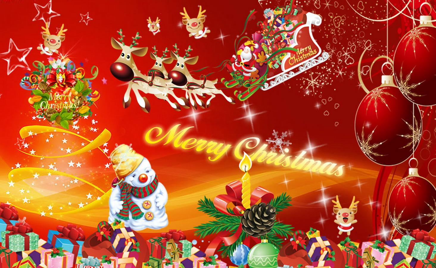 merry christmas tree lights snow man santa animated hd wallpaper