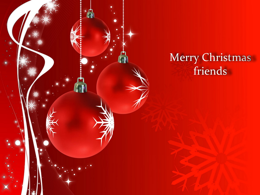 merry christmas wishes red balls hd wallpaper