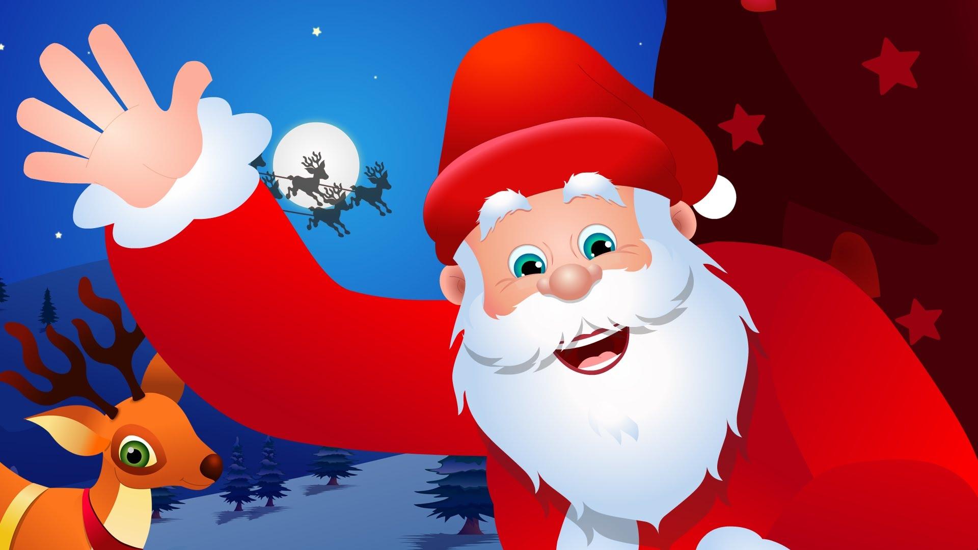 Santa Claus Cartoon Kids Wallpaper Free