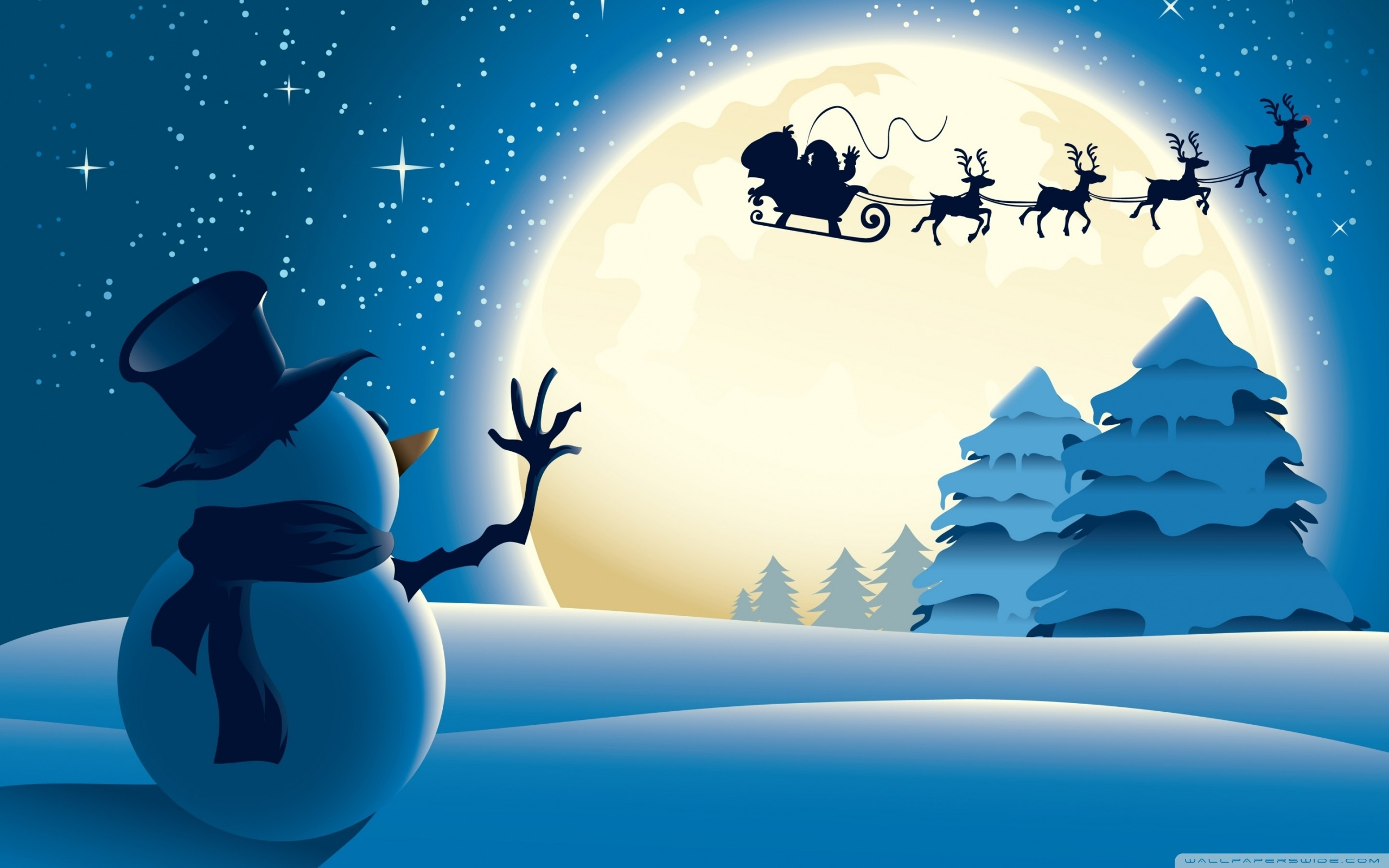 santa claus illustration free wallpaper 2560x1600