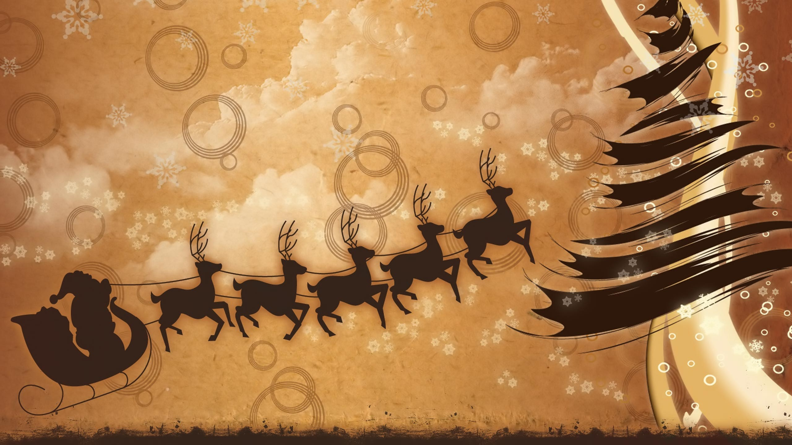 santa claus rein deer cartoon art wallpaper