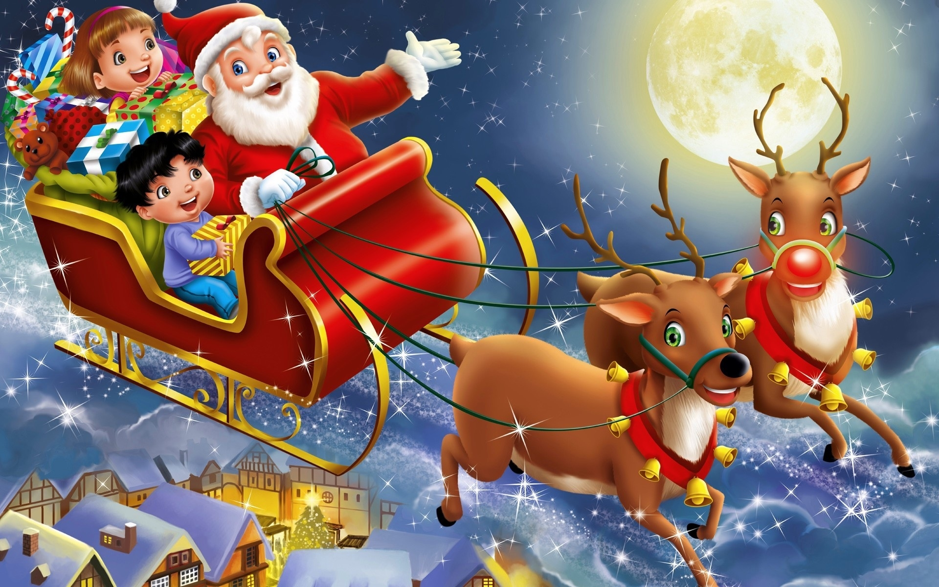 santa claus rein deer cartoon kids wallpaper