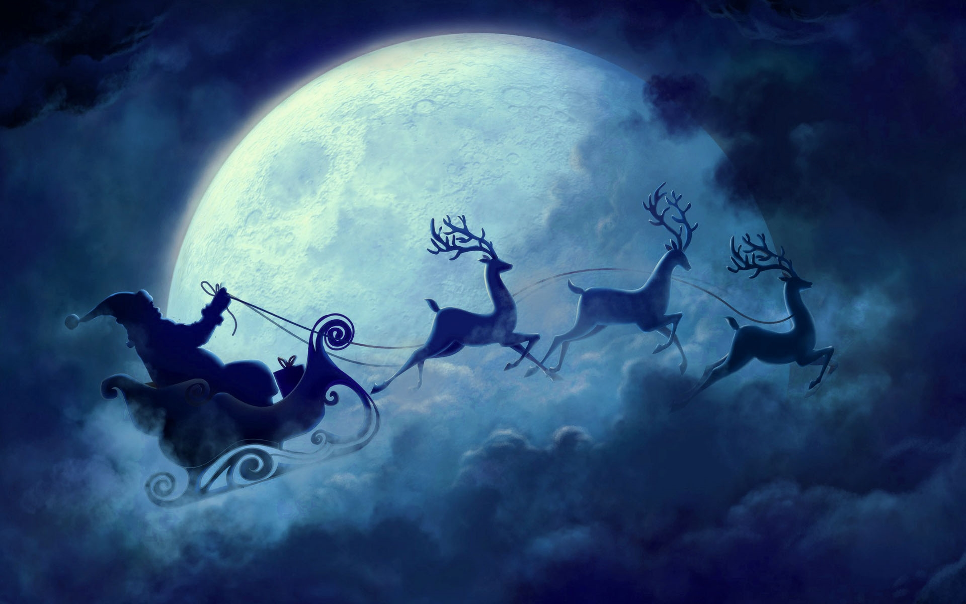 santa claus rein deers clouds wallpaper deskto