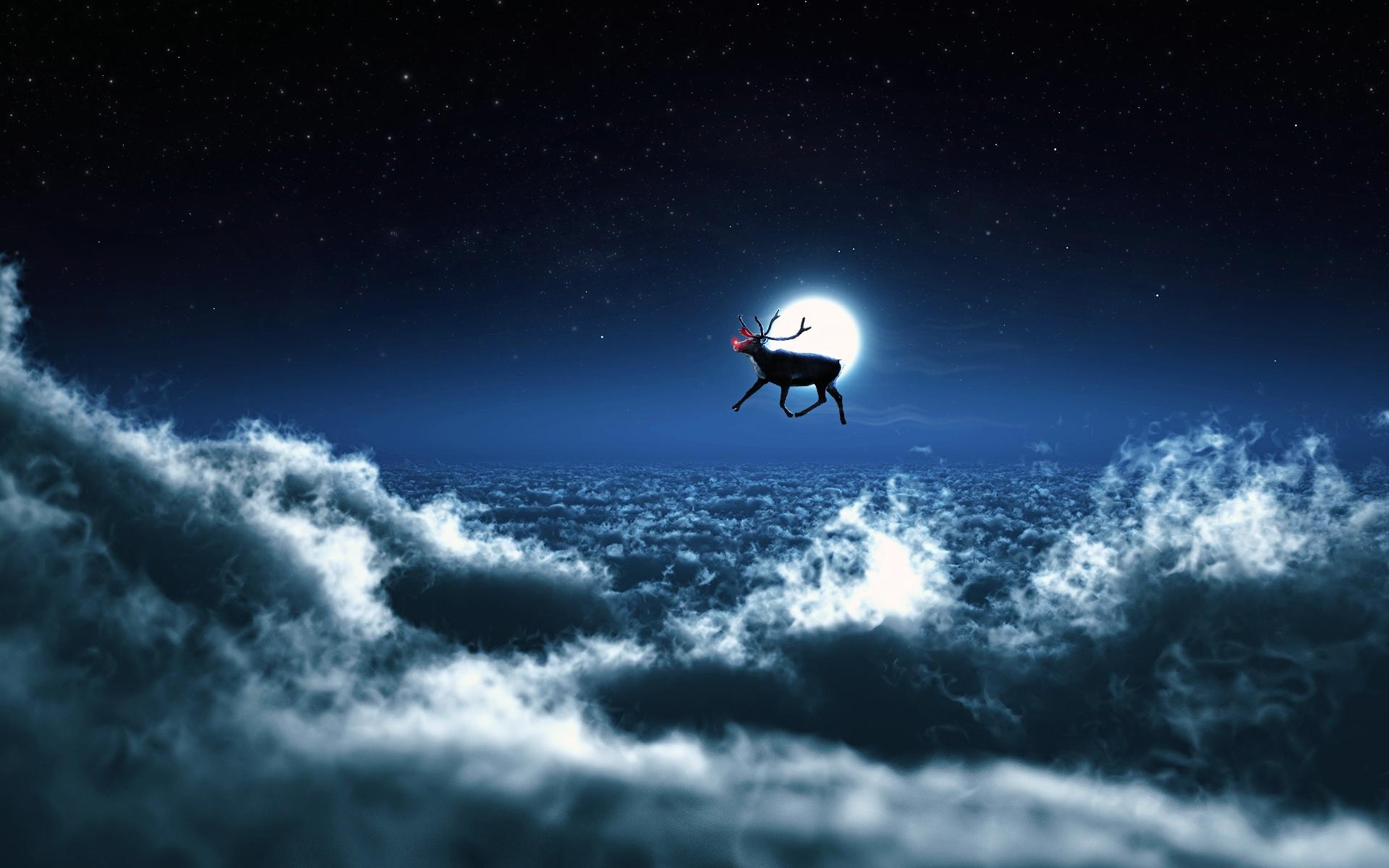 santa reindeer wide clouds free deskto