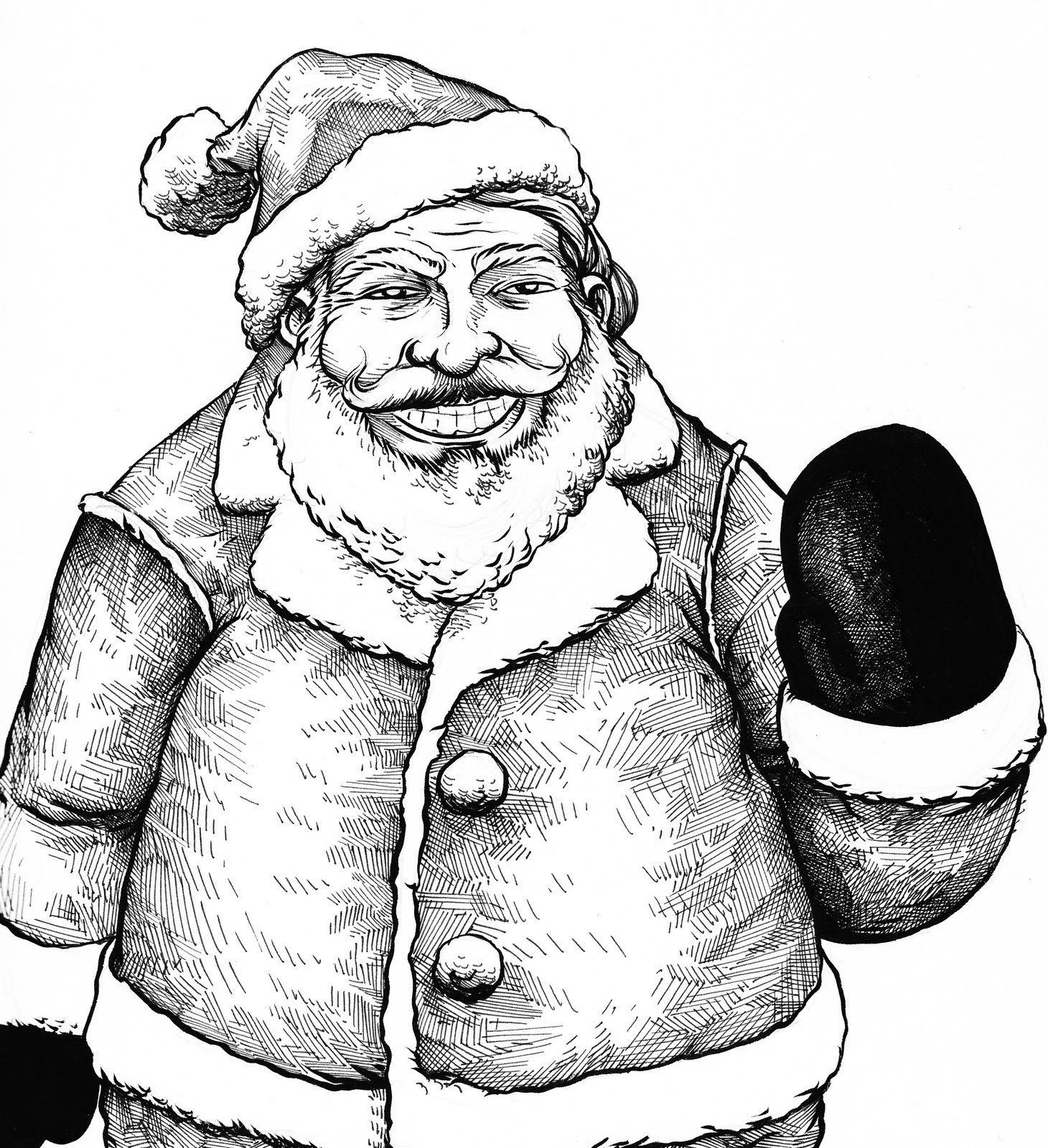 santa sketch pencil art drawin
