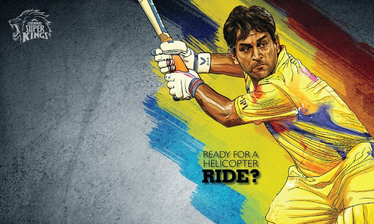 ipl csk chennai super kings dhoni helicopter shot art hd wallpaper