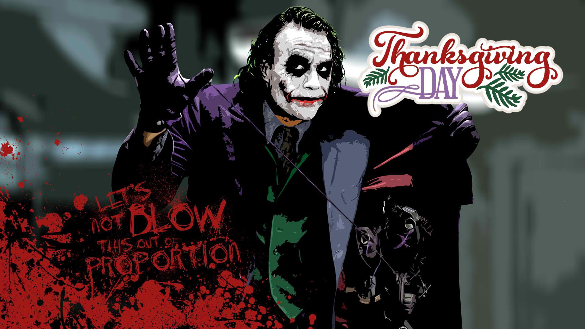Batman Joker Wishing Happy Thanksgiving Day Hd Background Wallpaper