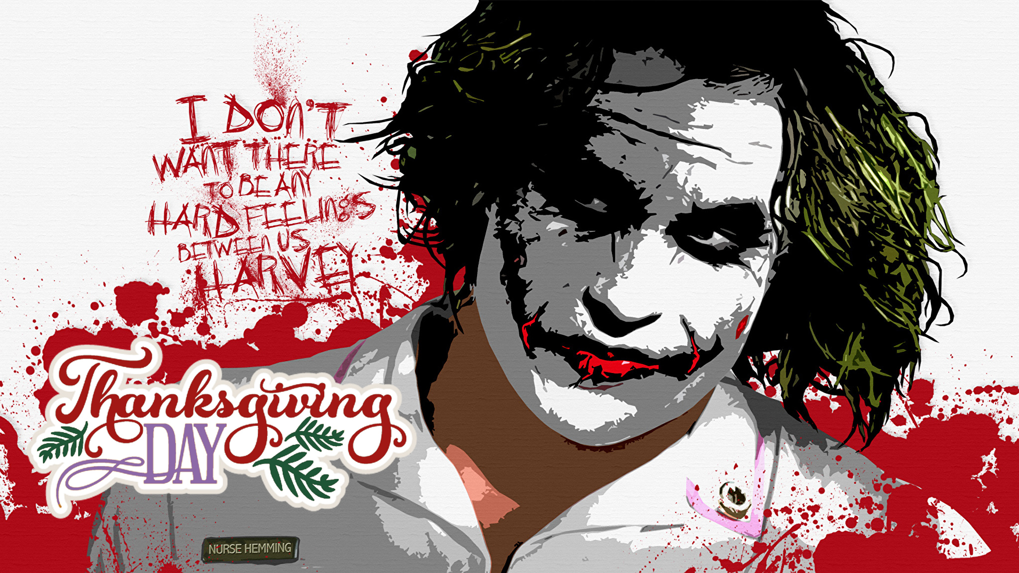 batman joker wishing happy thanksgiving day hd white pc wallpaper