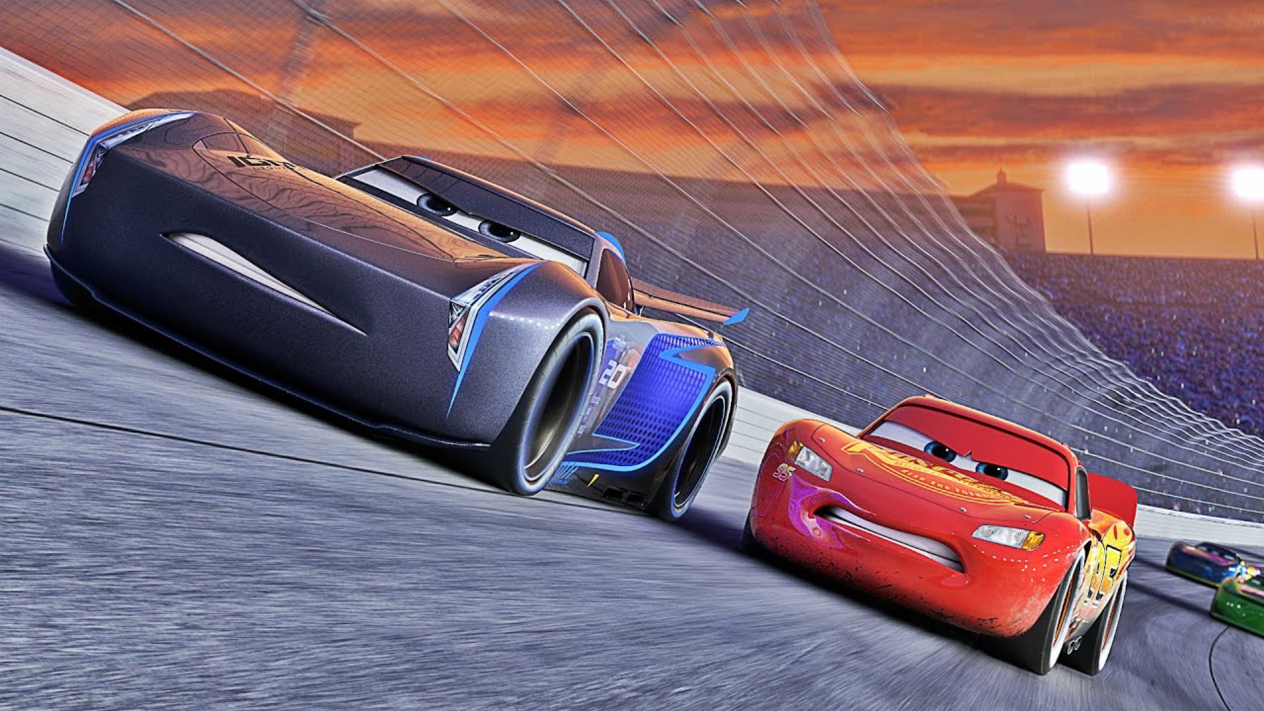 disney cars lightning mcqueen meets jackson storm hd wallpaper