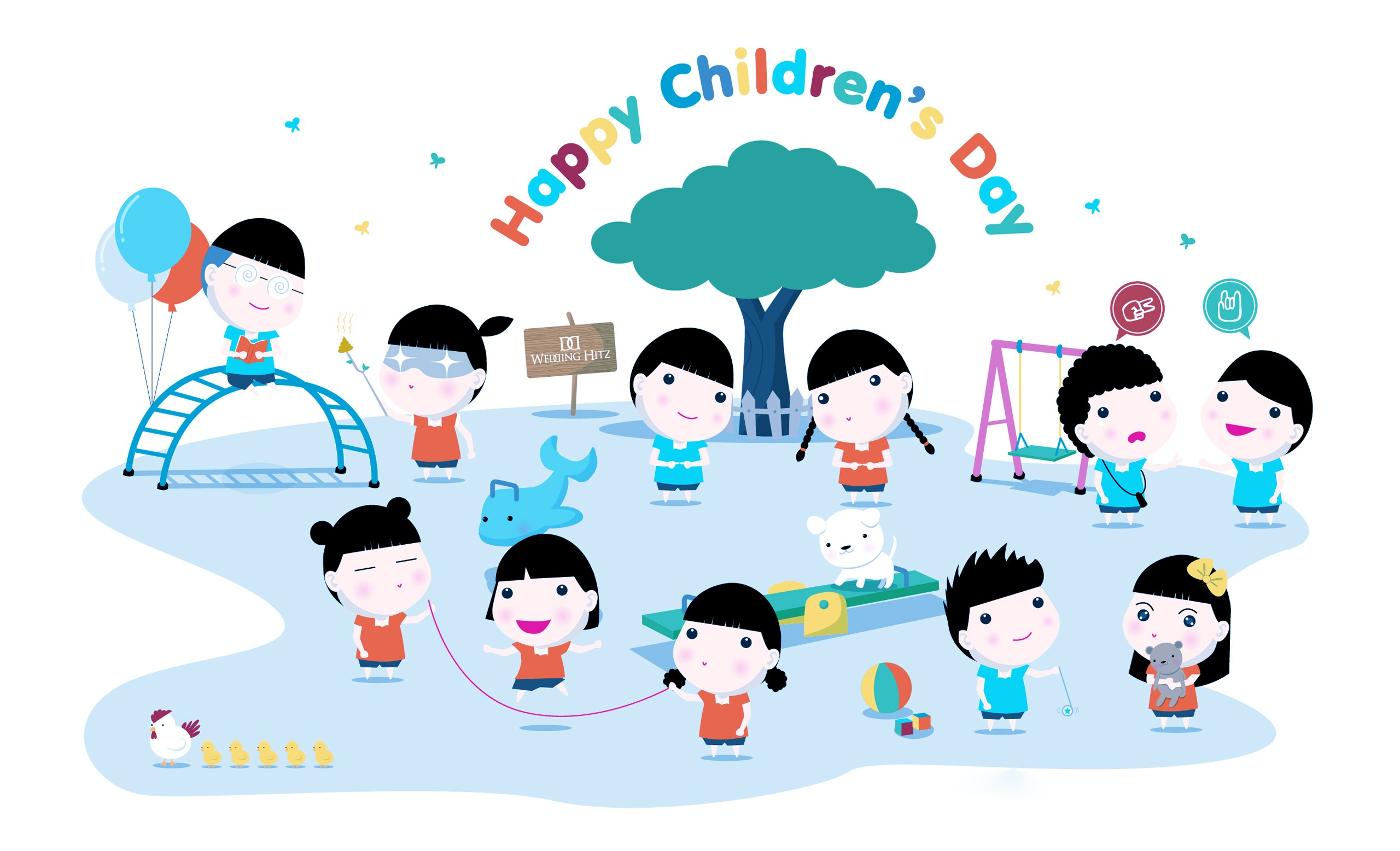 happy childrens day anime cartoon greetings wishes hd wallpaper