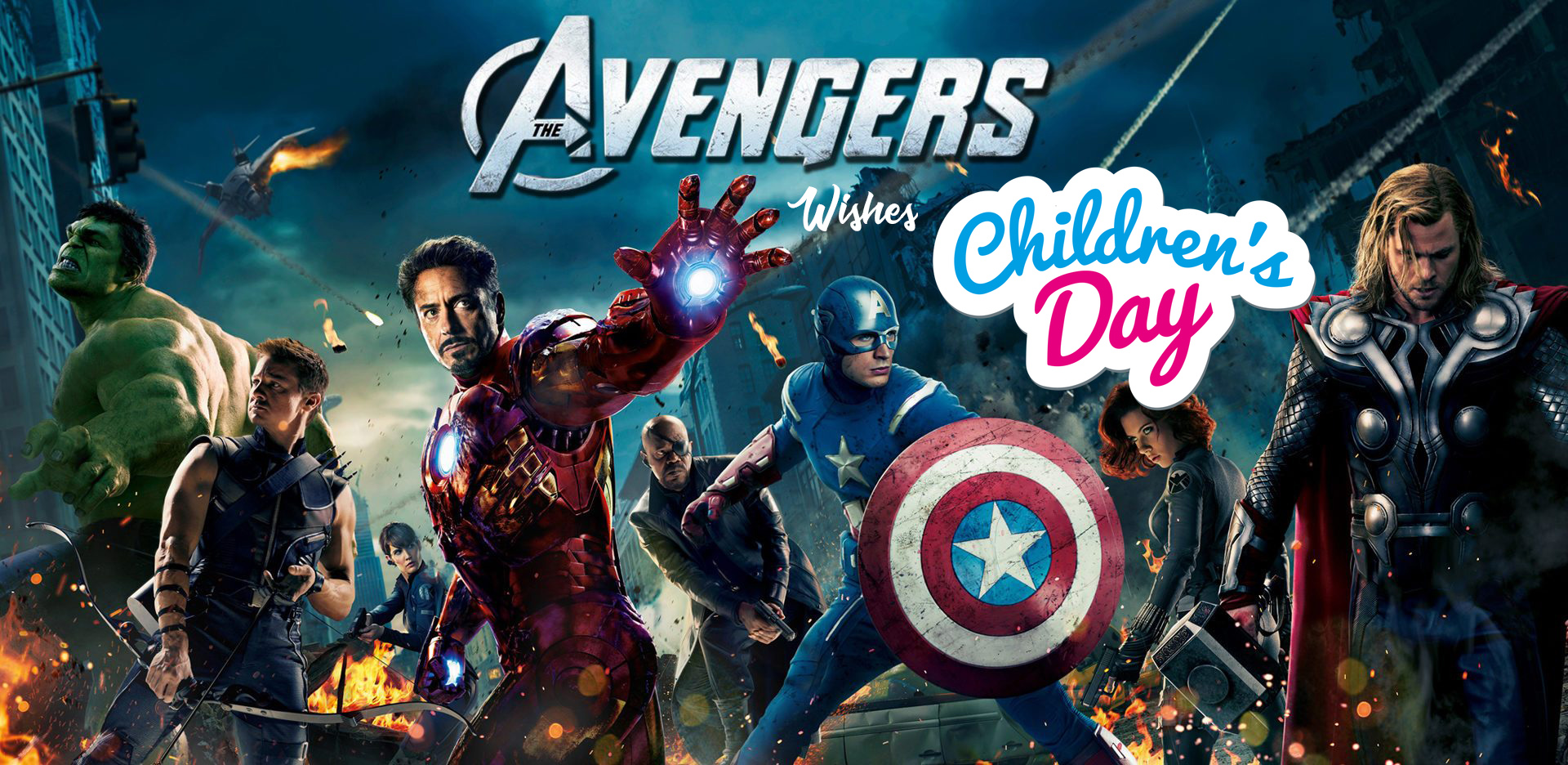 happy childrens day wishes avengers team hd wallpaper