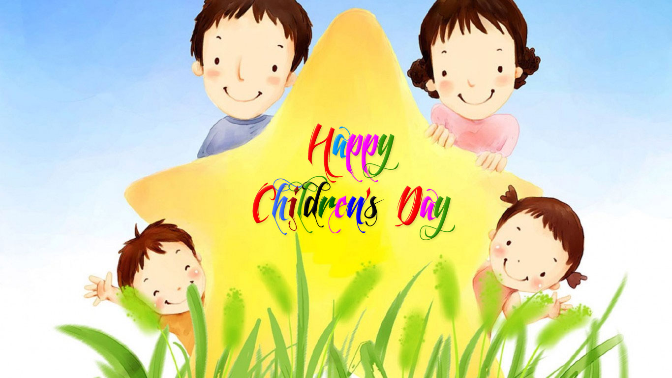 happy childrens day wishes star kids cartoon picture image hd wallpaper
