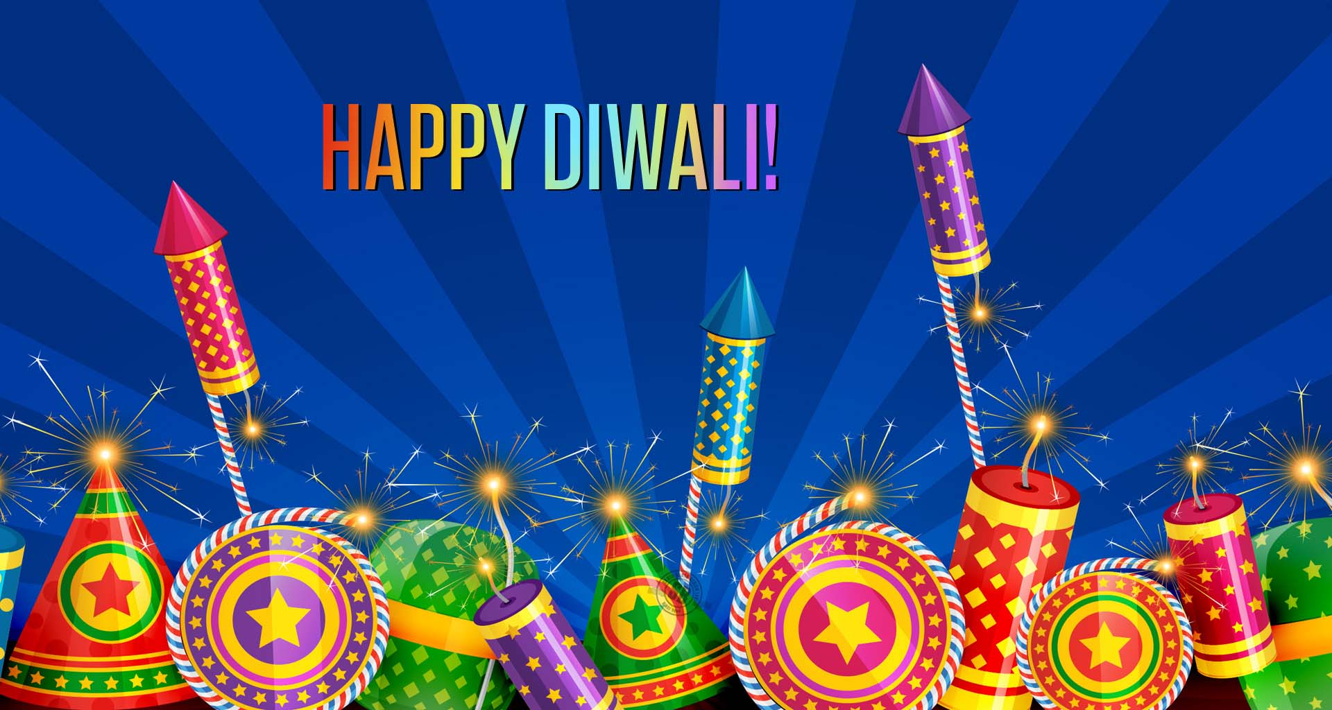 happy diwali colorful crackers hd wallpaper