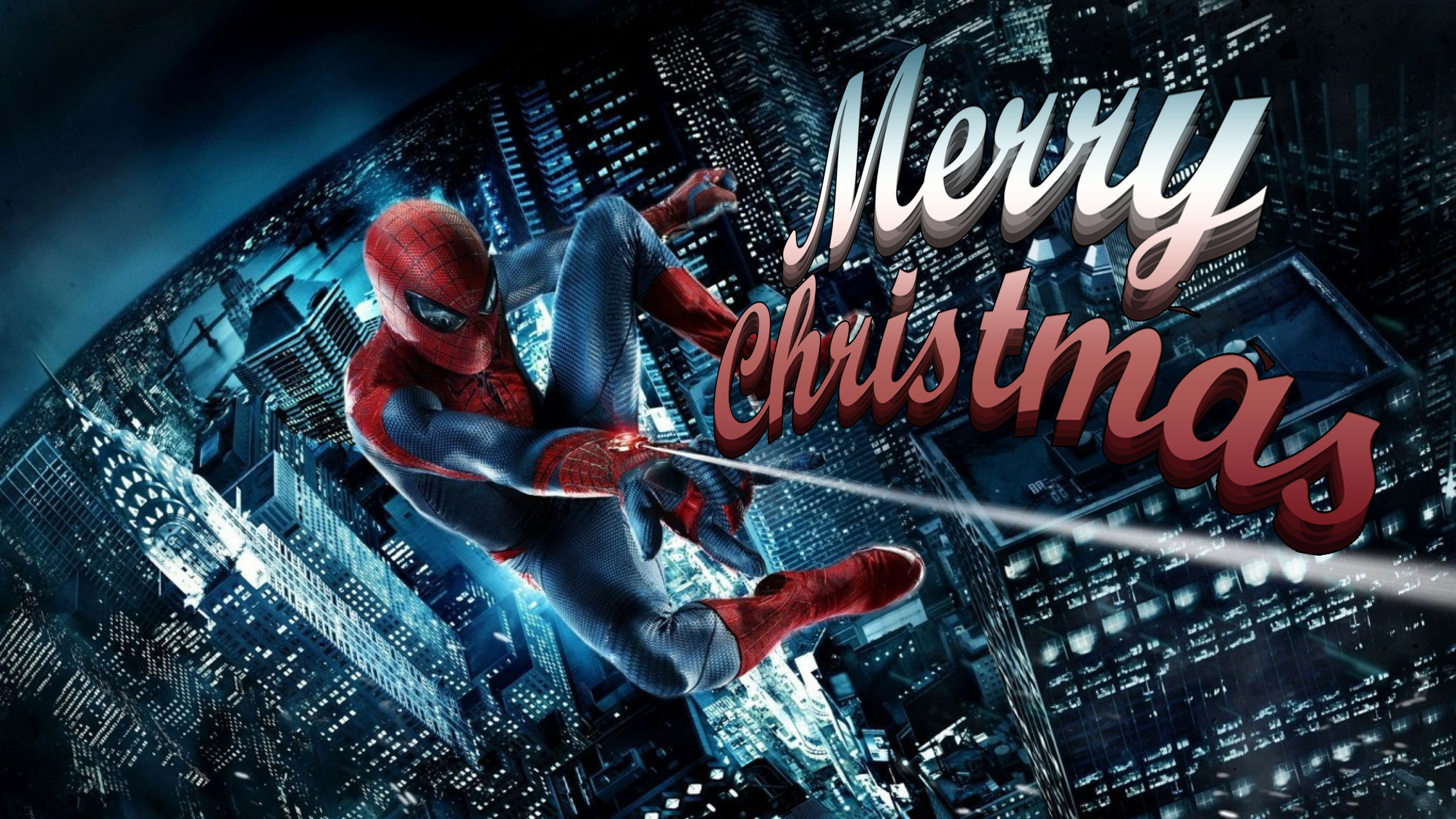 happy merry christmas greetings amazing spiderman kids ultra hd wallpaper